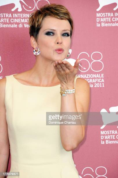 Actress Andrea Osvart attends the Eco Da Luogo Colpito Maternity Blues Photocall during the 68th Venice International Film Festival at Palazzo del...