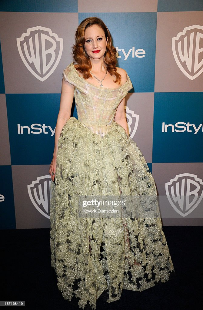 Actress Andrea Riseborough arrives at 13th Annual Warner Bros. And InStyle Golden Globe Awards After Party at The Beverly Hilton hotel on January 15, 2012 in Beverly Hills, California.