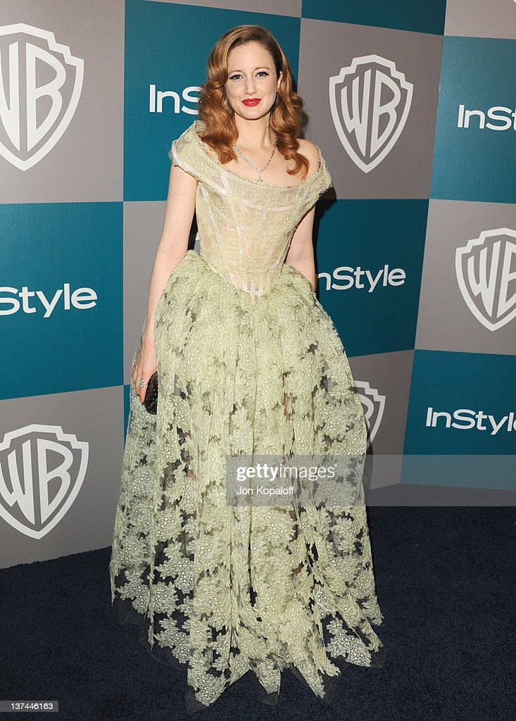 Actress Andrea Riseborough arrives at the 13th Annual Warner Bros. And InStyle Golden Globe After Party held at The Beverly Hilton hotel on January 15, 2012 in Beverly Hills, California.