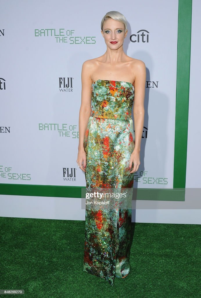 Actress Andrea Riseborough arrives at the Premiere Of Fox Searchlight Pictures' 'Battle Of The Sexes' at Regency Village Theatre on September 16, 2017 in Westwood, California.
