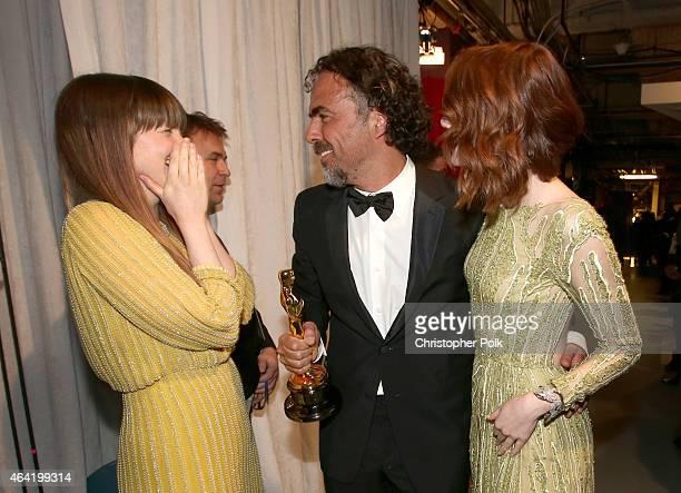 Actress Andrea Riseborough Director Alejandro Gonzalez Inarritu winner of Best Original Screenplay Best Director and Best Motion Picture for...