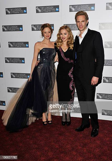 """Actress Andrea Riseborough, filmmaker Madonna and actor James D'Arcy attend the """"W.E."""" premiere during the 55th BFI London Film Festival at Empire..."""