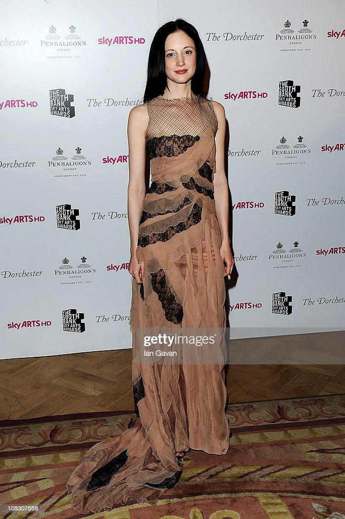Actress Andrea Riseborough poses in the press room at the South Bank Sky Arts Awards at The Dorchester on January 25, 2011 in London, England.