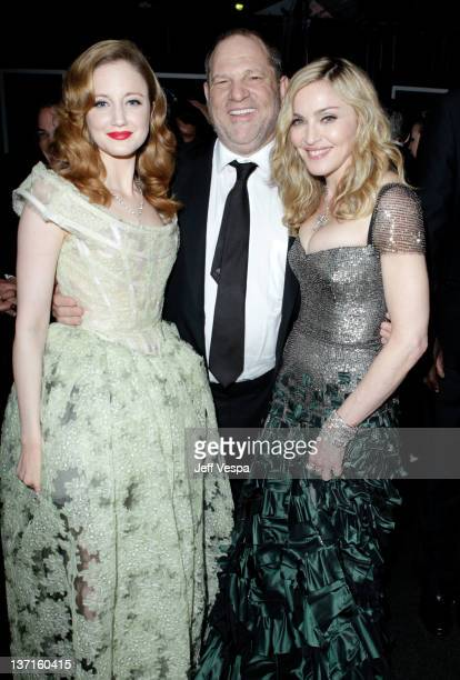 Actress Andrea Riseborough, producer Harvey Weinstein, and singer-director Madonna attend The Weinstein Company's 2012 Golden Globe Awards After...
