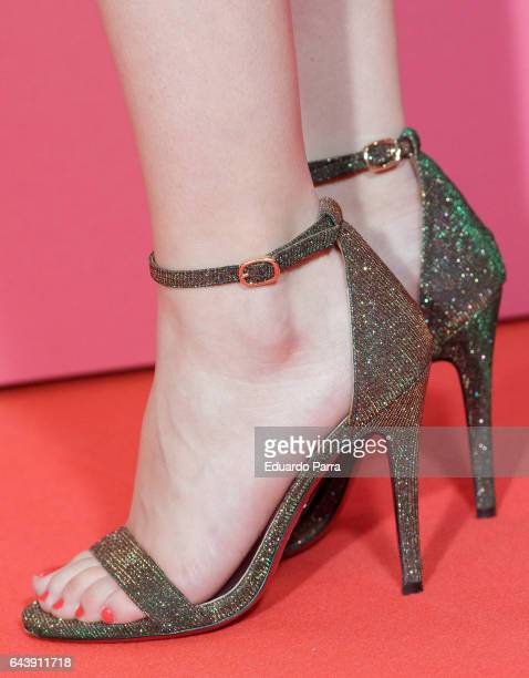 Actress Andrea Ros shoes detail attends the 'Es por tu bien' premiere at Capitol cinema on February 22 2017 in Madrid Spain