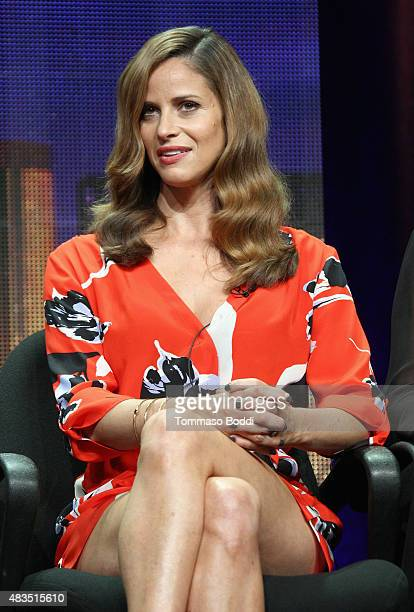 Actress Andrea Savage speaks onstage during 'The Hotwives of Las Vegas' panel at the Hulu 2015 Summer TCA Presentation at The Beverly Hilton Hotel on...