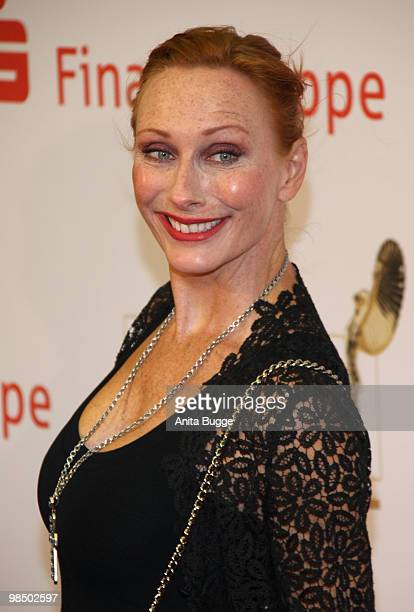 Actress Andrea Sawatzki arrives to the Jupiter Award ceremony at the 'Puro Sky Lounge' on April 16 2010 in Berlin Germany