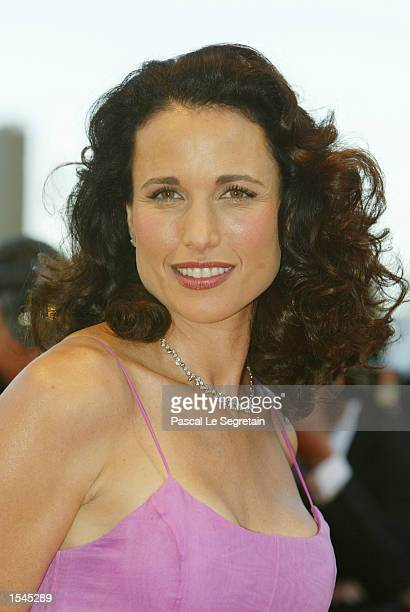 """Actress Andy McDowell arrives for French director Nicole Garcia's film """"L''adversaire"""" May 25, 2002 in Cannes, France. The 55th Cannes film festival..."""