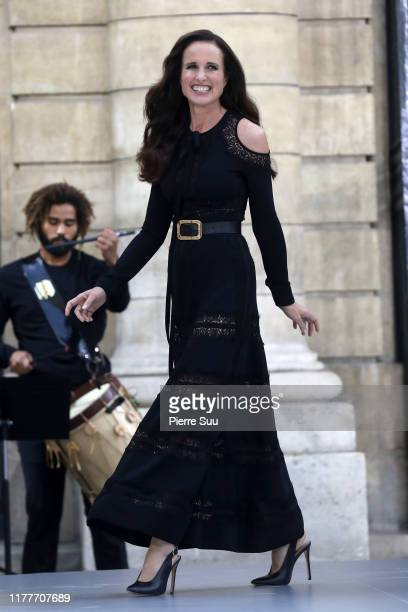 """Actress Andy McDowell walks the runway during the """"Le Defile L'Oreal Paris"""" Show as part of Paris Fashion Week on September 28, 2019 in Paris, France."""