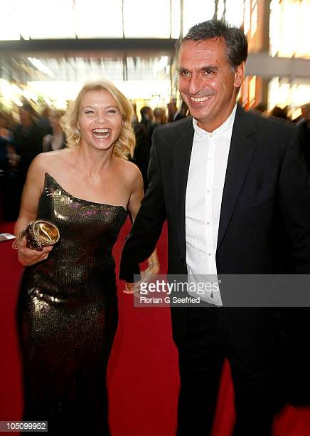 Actress Anette Frier and husband Johannes Wuensche attend the German TV Award 2010 at Coloneum on October 9 2010 in Cologne Germany