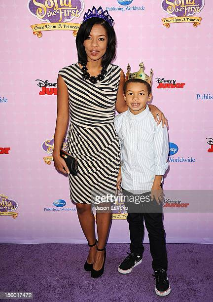 Actress Angel Parker and son attend the premiere of 'Sofia The First Once Upon a Princess' at Walt Disney Studios on November 10 2012 in Burbank...