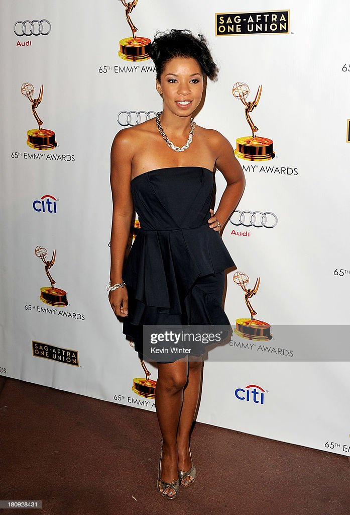 Actress Angel Parker arrives at The Academy of Television Arts & Sciences and SAG-AFTRA celebration of the 65th Primetime Emmy Award nominees at the Television Academy on September 17, 2013 in No. Hollywood, California.