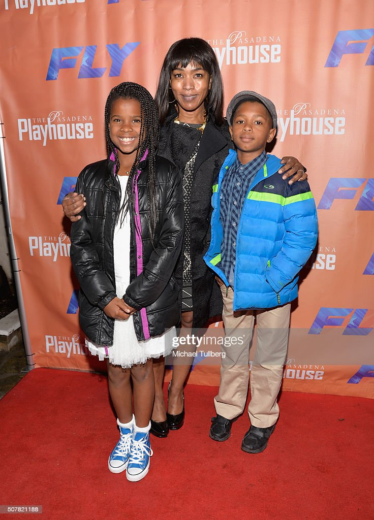 Actress Angela Bassett (C) and children Bronwyn Vance (L) and Slater Vance (R) attend the opening night of the play 'Fly' at Pasadena Playhouse on January 31, 2016 in Pasadena, California.