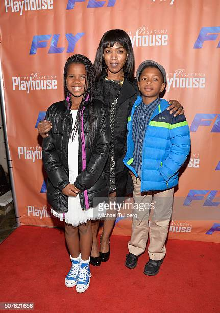 Actress Angela Bassett and children Bronwyn Vance and Slater Vance attend the opening night of the play 'Fly' at Pasadena Playhouse on January 31...