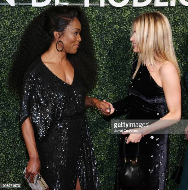 Actress Angela Bassett and CoFounder of MDM Amanda Hearst attend the MAISONDEMODE Celebrates Sustainable Style By Honoring Suzy Amis Cameron Of Red...