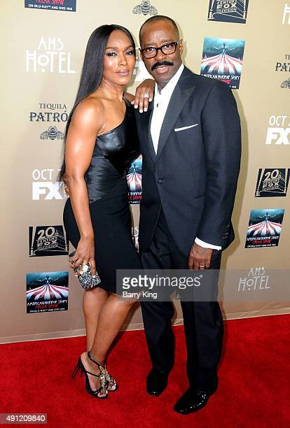 Actress Angela Bassett and husband actor Courtney B Vance arrive at the performs at American Of FX's 'American Horror Story Hotel' at Regal Cinemas...