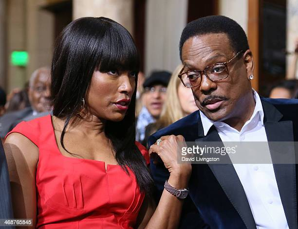 Actress Angela Bassett and recording artist Charlie Wilson attend the LA City Council's African American Heritage Month Celebration at Los Angeles...