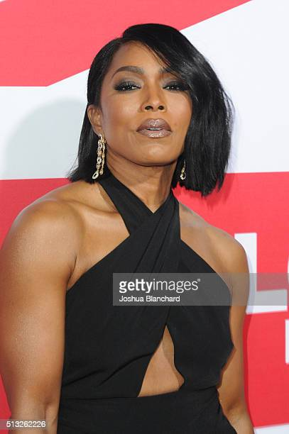 "Actress Angela Bassett arrives at the premiere of Focus Features' ""London Has Fallen"" at ArcLight Cinemas Cinerama Dome on March 1, 2016 in..."
