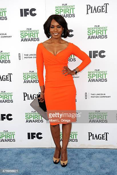 Actress Angela Bassett arrives for the 2014 Film Independent Spirit Awards held at the beach on March 1 2014 in Santa Monica California
