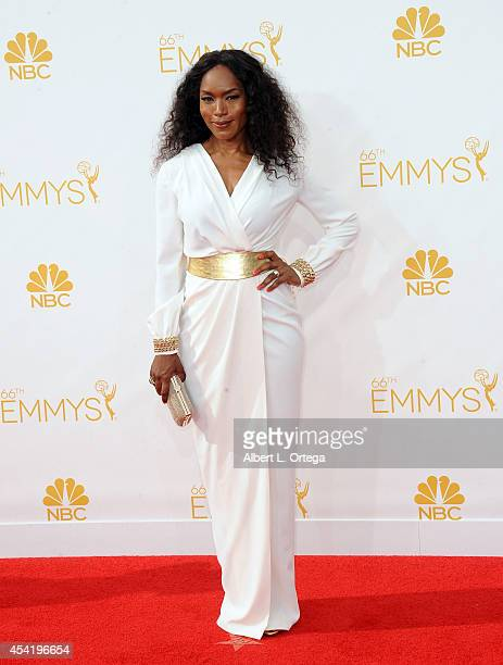 Actress Angela Bassett arrives for the 66th Annual Primetime Emmy Awards held at Nokia Theatre LA Live on August 25 2014 in Los Angeles California