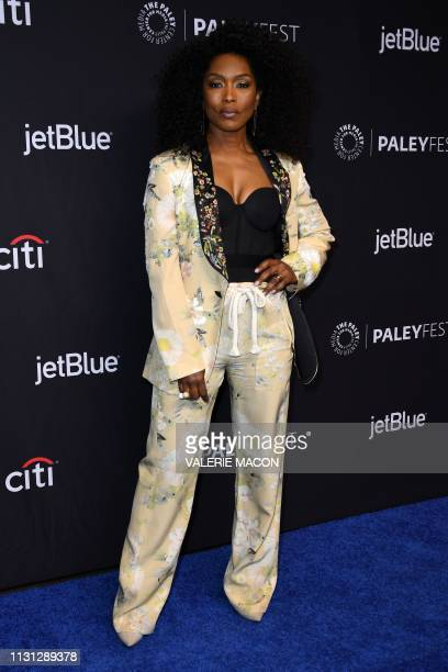 US actress Angela Bassett arrives for the PaleyFest Presentation of Fox's '911' at the Dolby Theatre on March 17 2019 in Hollywood California