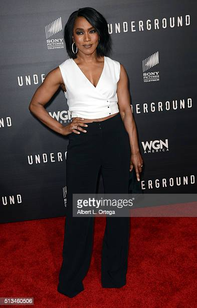 Actress Angela Bassett arrives for the Premiere Of WGN America's 'Underground' held at The Theatre At The Ace Hotel on March 2 2016 in Los Angeles...