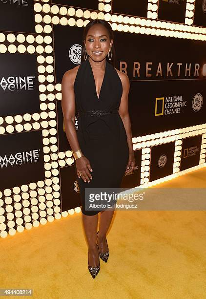 Actress Angela Bassett attends National Geographic Channel's 'Breakthrough' world premiere event at The Pacific Design Center on October 26 2015 in...