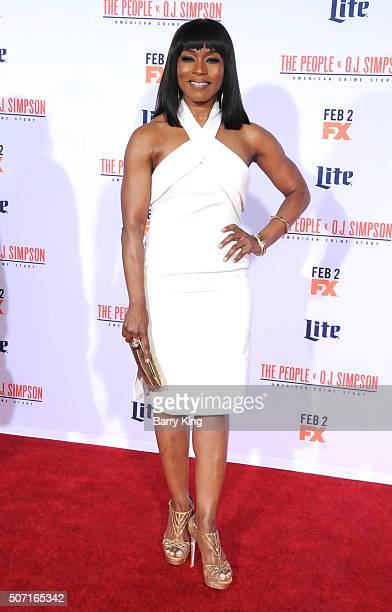 Actress Angela Bassett attends Premiere of 'FX's 'American Crime Story The People V OJ Simpson' at the Westwood Village Theatre on January 27 2016 in...