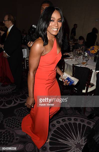 Actress Angela Bassett attends the cocktail reception during the 73rd Annual Golden Globe Awards at The Beverly Hilton Hotel on January 10 2016 in...