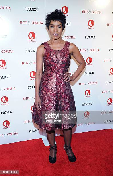 """Actress Angela Bassett attends the premiere of """"Betty & Coretta"""" to celebrate with Lifetime and cast at Tribeca Cinemas on January 28, 2013 in New..."""