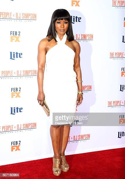 Actress Angela Bassett attends the premiere of FX's 'American Crime Story The People V OJ Simpson' at Westwood Village Theatre on January 27 2016 in...