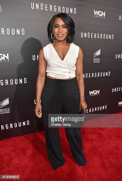 Actress Angela Bassett attends WGN America's Underground World Premiere on March 2 2016 in Los Angeles California