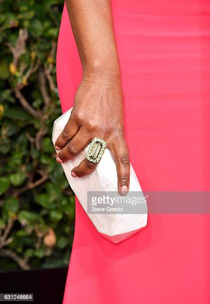 Actress Angela Bassett purse detail attends the 74th Annual Golden Globe Awards at The Beverly Hilton Hotel on January 8 2017 in Beverly Hills...