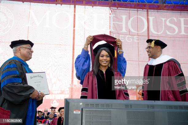 Actress Angela Bassett receives Honorary Degree during the Morehouse College 135th Commencement at Morehouse College on May 19, 2019 in Atlanta,...
