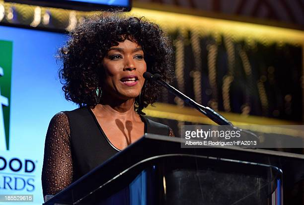 Actress Angela Bassett speaks onstage during the 17th annual Hollywood Film Awards at The Beverly Hilton Hotel on October 21 2013 in Beverly Hills...