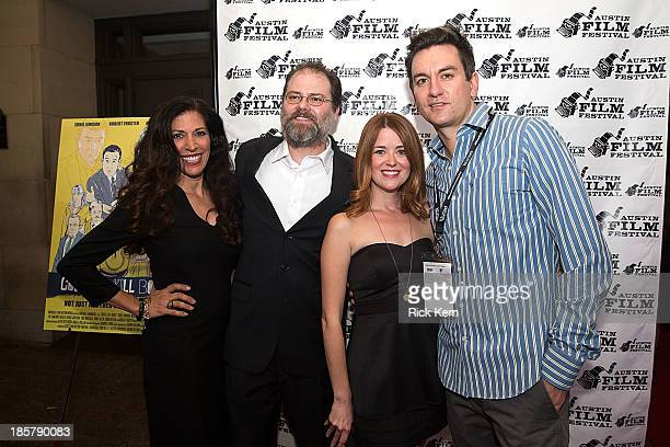 Actress Angela Gollan and director Nathan Marshall arrive at the world premiere of 'Coffee Kill Boss' during the Austin Film Festival at The...