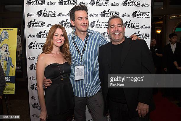 Actress Angela Gollan director Nathan Marshall and producer Robert Mello arrive at the world premiere of 'Coffee Kill Boss' during the Austin Film...