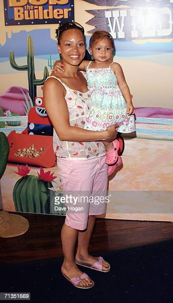 Actress Angela Griffin and her daughter arrive at the UK Premiere of Bob The Builder Built To Be Wild at the Odeon West End on July 2 2006 in London...