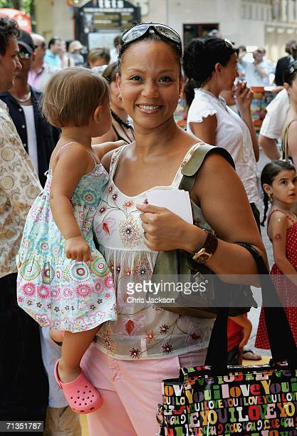 Actress Angela Griffin and her daughter pose for photographs at the Bob The Builder Built To Be Wild UK Premiere at the Odeon West End in Leicester...