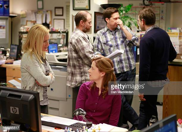 Actress Angela Kinsey and Jenna Fischer are photographed for USA Today on the set of 'The Office' on February 5 2013 in Van Nuys California