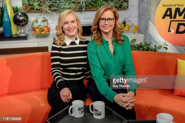 """Actress Angela Kinsey and Jenna Fischer discuss """"The Office Ladies"""" with BuzzFeed's """"AM To DM"""" on October 17, 2019 in New York City."""