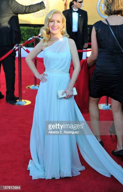 Actress Angela Kinsey arrives at the 18th Annual Screen Actors Guild Awards at The Shrine Auditorium on January 29 2012 in Los Angeles California