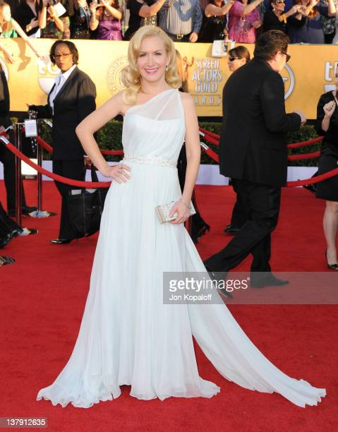 Actress Angela Kinsey arrives at the 18th Annual Screen Actors Guild Awards held at The Shrine Auditorium on January 29, 2012 in Los Angeles,...