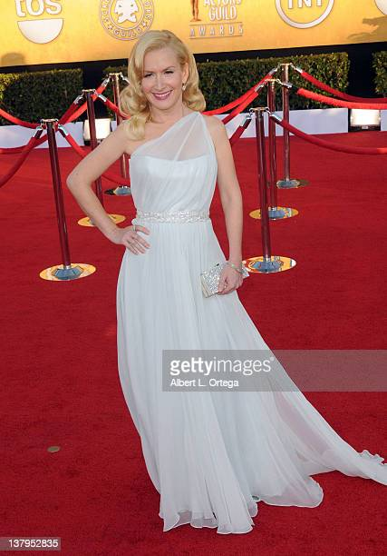 Actress Angela Kinsey arrives for the 18th Annual Screen Actors Guild Awards Arrivals held at The Shrine Auditorium on January 29 2012 in Los Angeles...