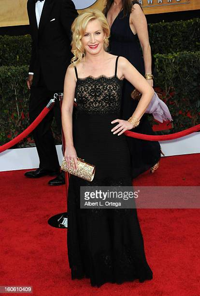 Actress Angela Kinsey arrives for the 19th Annual Screen Actors Guild Awards Arrivals held at The Shrine Auditorium on January 27 2013 in Los Angeles...