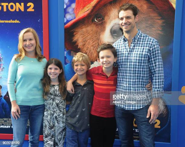 Actress Angela Kinsey Joshua Snyder and children arrive for the premiere of Warner Bros Pictures' 'Paddington 2' held at Regency Village Theatre on...