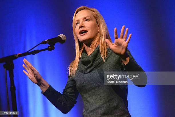 Actress Angela Kinsey of the TV show The Office performs onstage during Creed Bratton's benefit concert for Lide Haiti at the Regent Theater DTLA on...