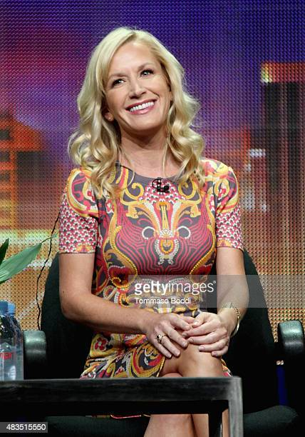 Actress Angela Kinsey speaks onstage during The Hotwives of Las Vegas panel at the Hulu 2015 Summer TCA Presentation at The Beverly Hilton Hotel on...
