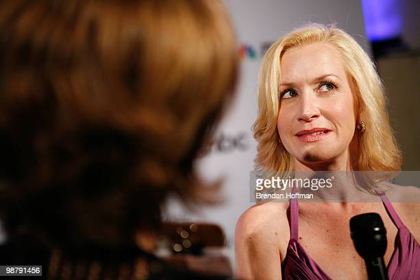 Actress Angela Kinsey talks to a reporter at the MSNBC Afterparty following the White House Correspondents' Association dinner on May 1 2010 in...