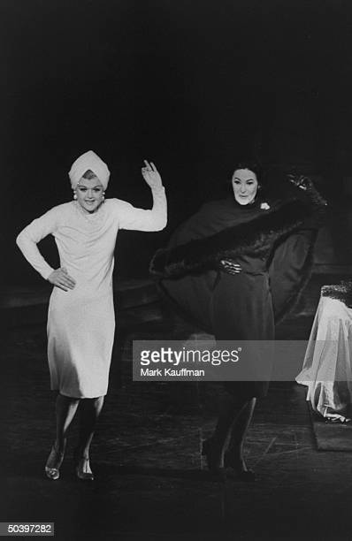 Actress Angela Lansbury actress Beatrice Arthur trading insults in song called Bosom Buddies in Mame